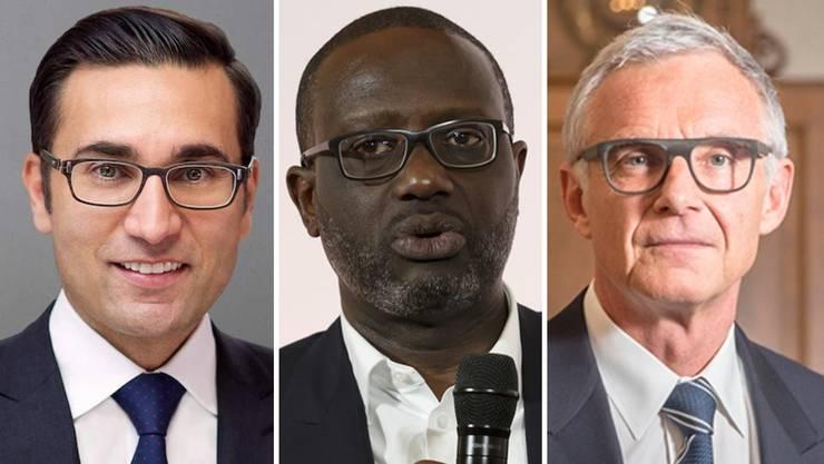Die Protagonisten des Wirtschaftskrimis: Iqbal Khan, Tidjane Thiam, Urs Rohner.