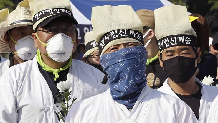 Auch Demonstranten in Südkorea fürchten sich vor Mers