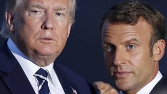 US-Präsident Donald Trump (l.) gab offenbar seine Zustimmung zum Besuch des iranischen Aussenministers bei den G7, der von Frankreichs Präsident Emmanuel Macron (r.) eingefädelt wurde.
