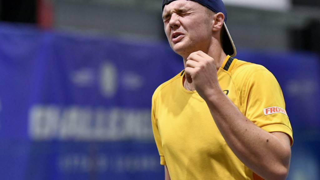 Bis zum Ende hochkonzentriert: Dominic Stricker gewinnt beim Hallenturnier in Lugano seinen ersten Profititel