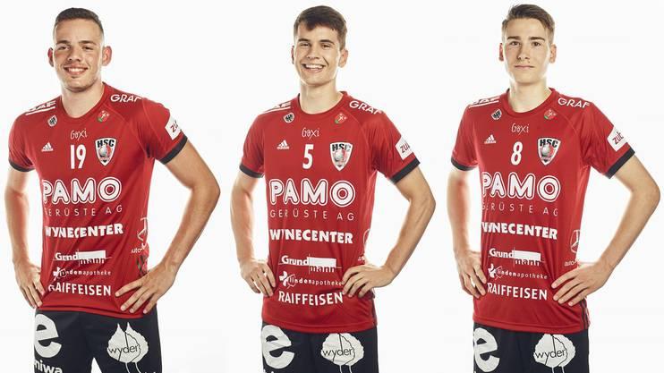 Raphael Rohr (l.), Timothy Reichmuth (M.) und Manuel Zehnder haben sich unter Trainer Misha Kaufmann im Fanionteam des HSC etabliert.