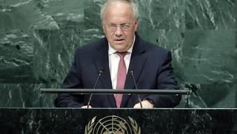 Bundespräsident Johann Schneider-Ammann bei seiner Rede vor der UNO-Generalversammlung