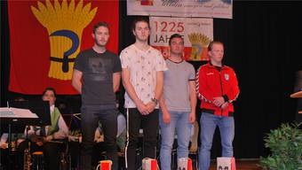 Jann Dillier (U21-Bronze im Beachvolleyball), Stuart Müller, Raphael Schmid (U19-Bronze im Radball) und Luc Graf (U23-Gold im Radball) sind vier der Möhliner Sportler, die am Neujahrsapéro geehrt wurden.