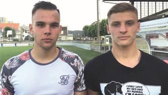 Colin Bähler (links) kam schon in der vergangenen Saison zu Einsätzen in der 1. Liga, Kilian Hari hütete das Tor der A-Junioren.