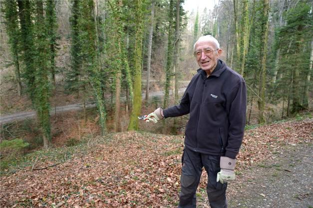 Manfred Hunziker fand die Leiche in der letzten Januarwoche an dieser Stelle im Wald.