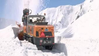 Gotthardpass - 19.4.16 - Die Schneeräumung auf dem Gotthardpass ist keine leichte Arbeit. Wuchtige Maschinen verschieben tausende Tonnen Schneemassen, um die Passstrasse wieder befahrbar zu machen. Der Job ist nicht ungefährlich, es droht die Lawinengefahr.
