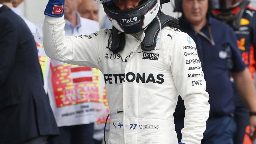 Valtteri Bottas freut sich über die Pole-Position in Österreich