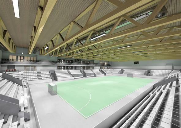 Die Ballsporthalle umfasst knapp 2000 Zuschauerplätze, die nun steiler angeordnet sind.