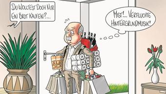 So stellt sich Karikaturist Swen die Auswirkungen der Hintergrundmusik auf unser Einkaufsverhalten vor.