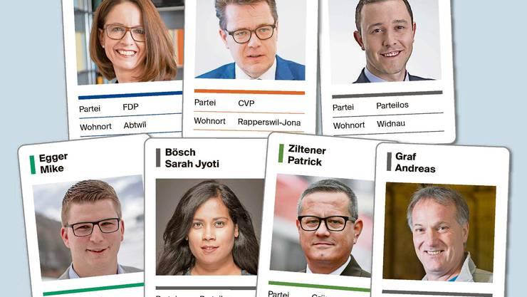 Diese zwei Frauen und fünf Männer würden gerne neu den Kanton St.Gallen im Ständerat vertreten.
