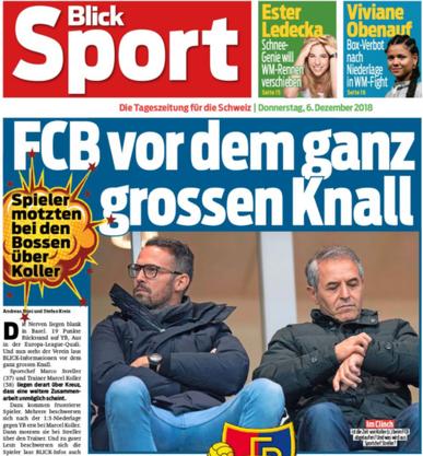 Koller verliert mit dem FCB in Bern 1:7. Als im Dezember auch das Rückspiel in Basel 1:3 verlorengeht und YB enteilt, beklagen sich die Spieler bei Präsident Burgener über die distanzierte Art von Koller. Trotzdem darf er bleiben.