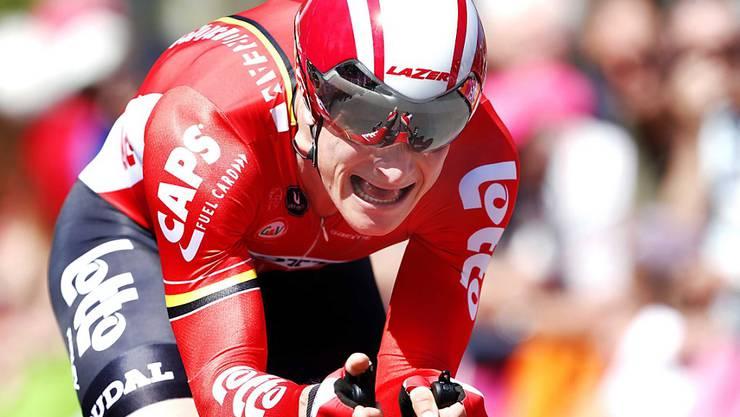 André Greipel - hier beim Giro-Zeitfahren vom letzten Freitag in Aktion - war im Sprint von Benevento eine Klasse für sich