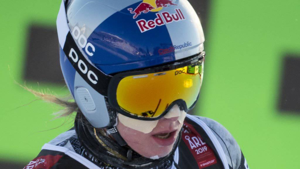 Super-G-Olympiasiegerin Ester Ledecka stürzte im ersten Abfahrts-Training in Are