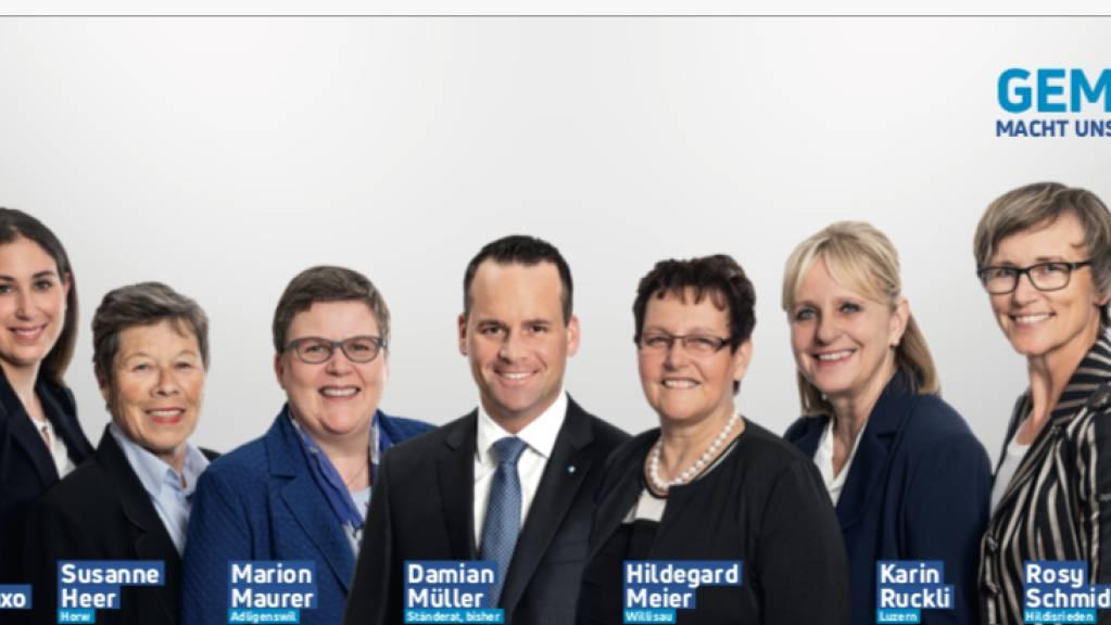 Lässt sich die Negativ-Kampagne der CVP auf Google nicht gefallen: Die Luzerner FDP-Kandidatin Marion Maurer, vierte von links auf dem Wahlplakat der FDP-Frauen Luzern.