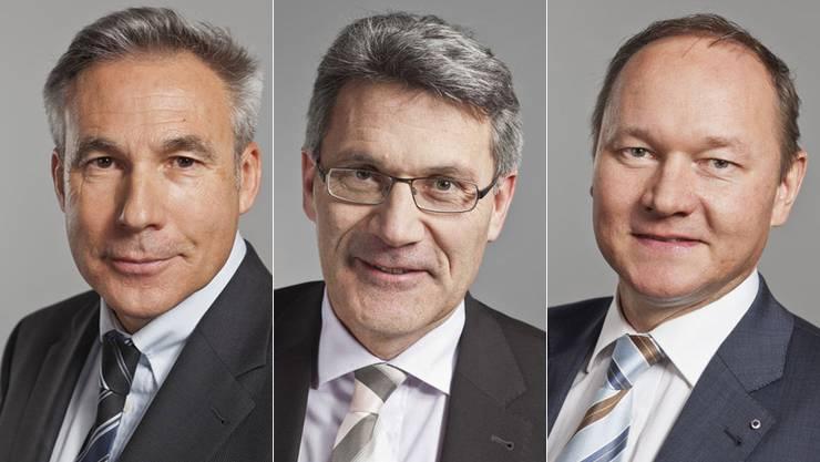Adrian Amstutz (BE), Pirmin Schwander (SZ) und Jürg Stahl (ZH) interessieren sich für den Posten als Fraktionspräsidenten der SVP.