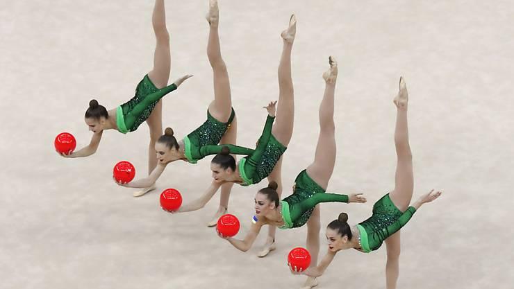 Rhythmische Gymnastik: Das Team aus der Ukraine verzückt an den Weltmeisterschaften 2019 in Baku.