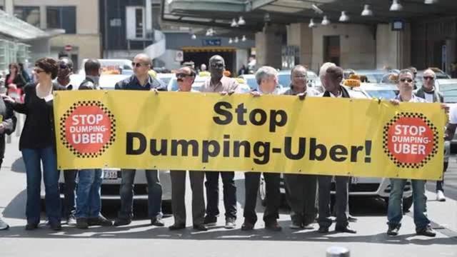 Lausanner Taxifahrer protestieren gegen Uber