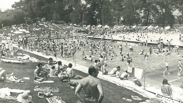 Bereits in den Anfangsjahren des 1969 eröffneten Freibads am Rheinufer zog es zahlreiche Badegäste aus der Region in die temperierten Schwimmbecken.