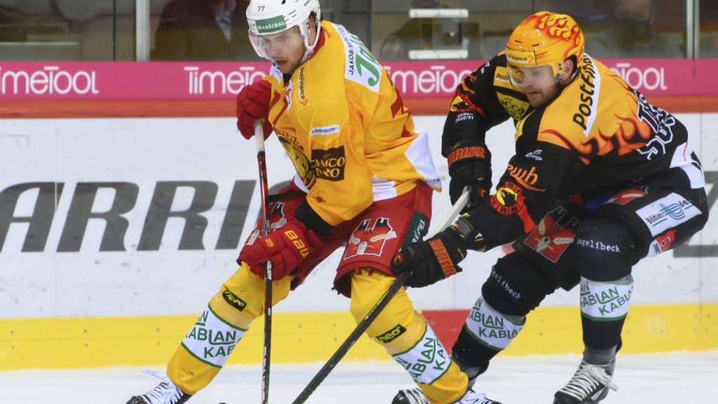 Langnaus Verteidiger Sebastian Schilt (in gelb) wird für zwei Partien gesperrt