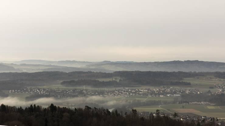 Aussicht von der Rehaklinik Bellikon über das Reusstal, am 26. Januar 2018.