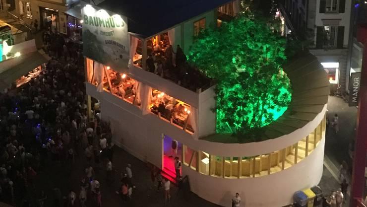 Blick von oben auf das Zurzibieter «Baumhuus».