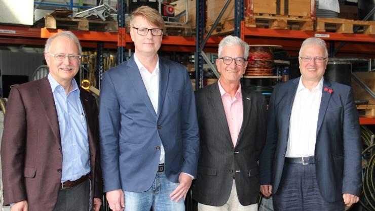 Ihr Anliegen wurde abgelehnt: Hans-Jürg Reinhart, Gemeindeammann Möriken-Wildegg, Laszlo Körtvelyesi, Geschäftsführer RTB, Roger Cavegn, Präsident RTB, und Jürg Link, Ammann Niederlenz (v.l.) bei der Präsentation der Pläne im Mai.