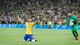 Der Moment des Triumphs: Neymars Erlösung nach seinem entscheidenden Elfmeter.keystone