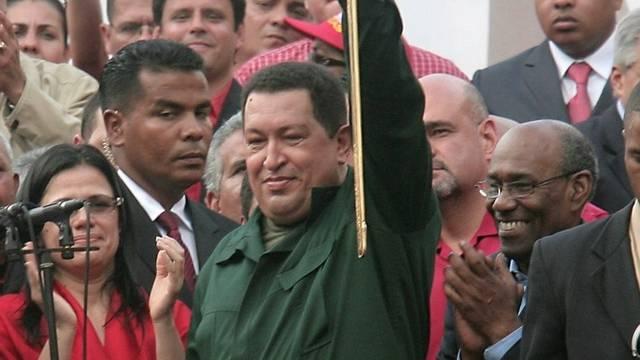 Veneuzuelas Präsident Hugo Chavez unter Anhängern