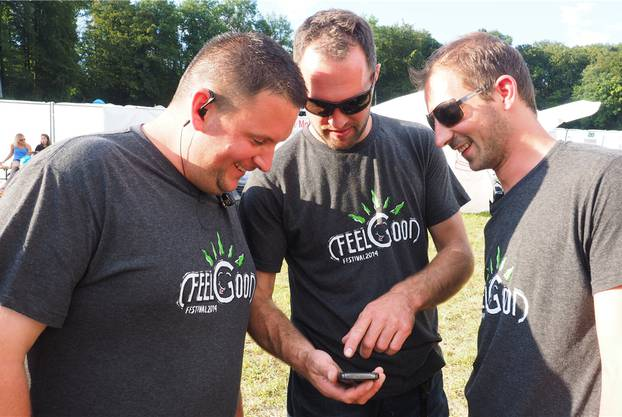 OK-Chef Andreas Widmer, Philipp Meier (Aufbau) und Reto Meier (Strom).