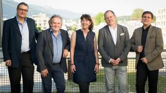 Sie betreten mit der Wagneroper neue Wege im Passionsspielhaus in Selzach (v. l.): René Gehri, Oskar Fluri, Pia Bürki, Dieter Kaegi und Valentin Vassiliev.
