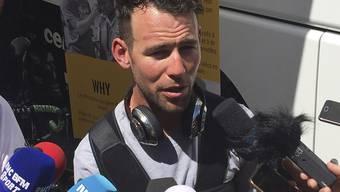 Mark Cavendish hier noch bei Interviews direkt an den Mikrofonen