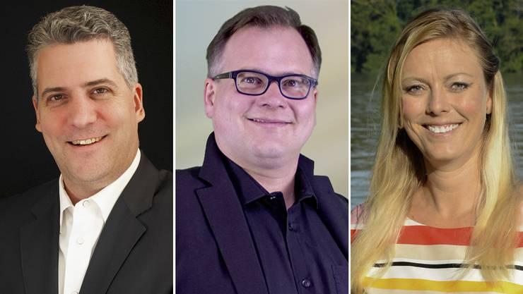 Reto Bernardi (links), Oliver Jucker (mitte) und Diana Montandon (rechts) treten wieder zur Gemeinderatswahl an.