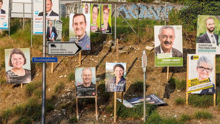 Plakatwälder wie 2016 bei der Kreuzlibergstrasse sollen künftig nicht mehr zu sehen sein, wünschte GLP-Einwohnerrat Peter Berger. Archiv/San