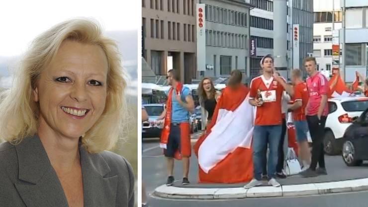 Stadträtin Regina Jäggi und friedliche Fans am Aargauerplatz in Aarau nach dem Sieg über Ecuador: «Es ist wichtig, positiv an die Sache heranzugehen. Auch wir wollen, dass die WM ein Fest ist.»