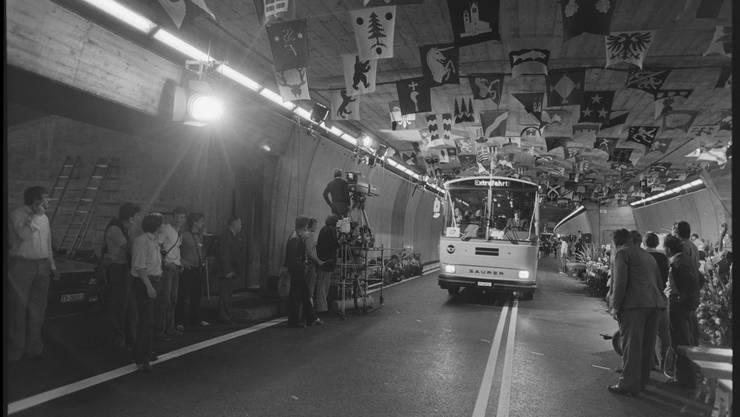 Am 5. September 1980 wurde der Gotthard-Tunnel für den Automobil-Verkehr geöffnet.