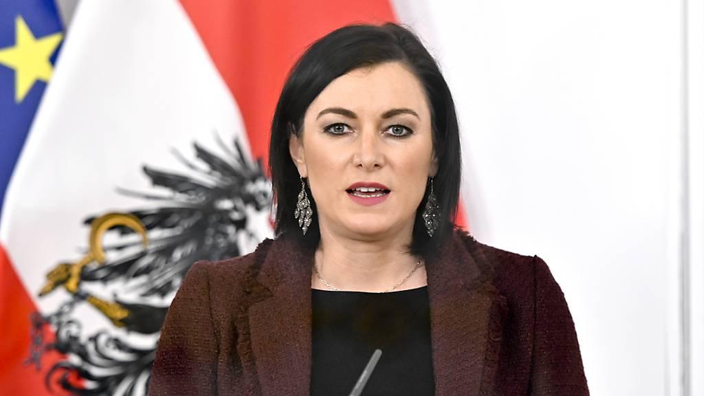 Elisabeth Köstinger (ÖVP), Ministerin für Landwirtschaft, Regionen und Tourismus in Österreich, spricht auf einer Pressekonferenz. (Archivbild)