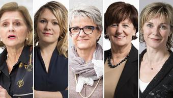 Von links nach rechts: Doris Fiala (FDP), Kathrin Bertschy (GLP), Maya Bally (BDP), Ida Glanzmann (CVP), Maya Graf (Grüne).