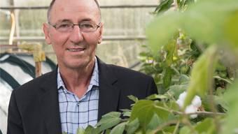 FiBL-Direktor Urs Niggli mit einer Bio-Baumwollpflanze. Alex Spichale
