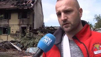Zwei Feuerwehrmänner wurden beim Brand auf dem Bauernhof in Zeinigen verletzt. Nun spricht einer der beiden Verletzten.