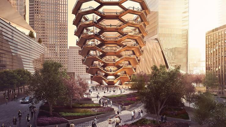 """Modell der Hudson-Yards-Überbauung mit dem Hauptplatz, den Gärten und dem """"Schiff""""."""