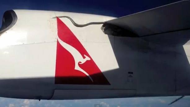 Die Python hängt auf der Flugzeug-Tragefläche.