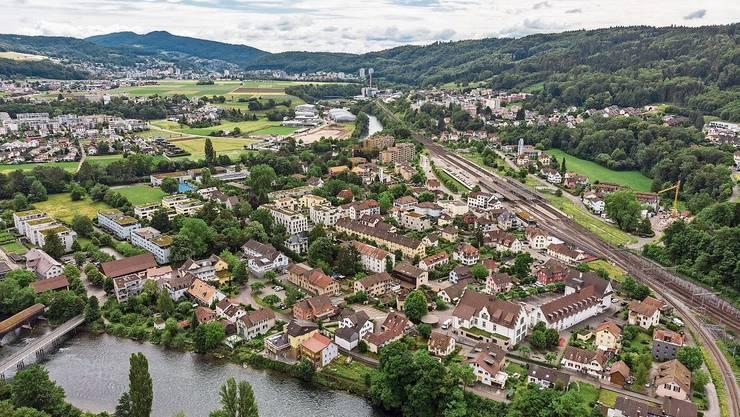 Luftaufnahme der Gemeinde Turgi: Die Fusion mit Baden soll 2024 erfolgen.