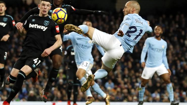 David Silva schoss Manchester City mit einer akrobatischen Einlage nach 27 Minuten in Führung