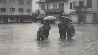 Überschwemmung in Gränichen am 21. September 1968