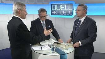 Moderator Werner de Schepper im Gespräch mit Andreas Glarner (rechts) und Kurt Schmid.