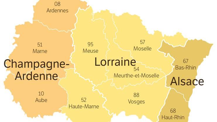 Die ostfranzösische Grossregion Elsass/Champagne-Ardenne/Lothringen.