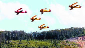 Im Formationsflug: Die Flugzeugstaffel «The Old Eagles, Swiss Bücker Squadron» wird in Kestenholz mit ihren fünf Bückern zu bewundern sein.