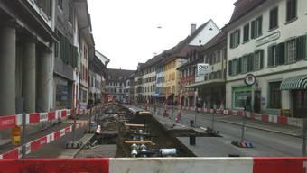 Die Schwertgasse in Bad Zurzach Ende Februar – nun folgt der nächste Abschnitt.