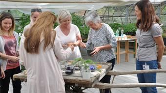 Die Workshops, die im Schaugewächshaus des Pflege- und Betreuungszentrums Reusspark stattfinden, sind sehr beliebt. So wie dieser Kurs für das Herstellen eines Kräuterpeelings, der dieses Jahr zum Frühlingsanfang stattgefunden hat.