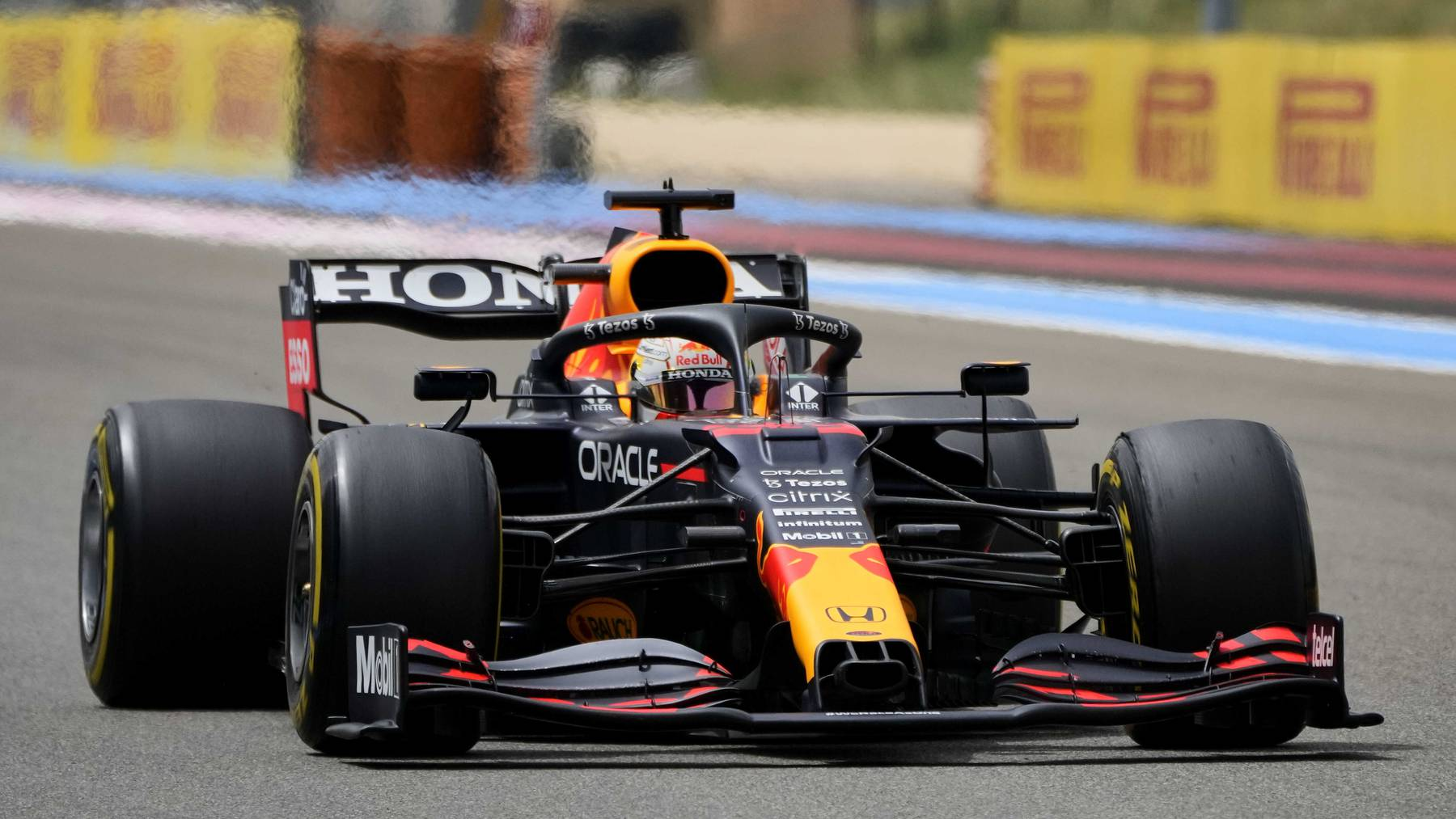 Red Bull driver Max Verstappen of the Netherlands steers his car during the French Formula One Grand Prix at the Paul Ricard racetrack in Le Castellet, southern France, Sunday, June 20, 2021.